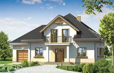 Projekt domu z poddaszem Amanda o pow. 176,42 m2 z garażem 1-st., z dachem namiotowym, z tarasem, z wykuszem, sprawdź!