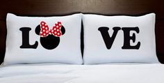 A pair of 2 Standard pillow cases 50 x 70 sm customized with Mickey and Minnie Mouse Kiss pictures. The listing is for TWO pillow cases. Felt Crafts Diy, Diy Home Crafts, Funny Throw Pillows, Canadian Smocking, Disney Bedrooms, Diy Kids Furniture, Couch Cushion Covers, Cushion Cover Designs, Disney Birthday