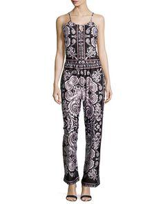 Ornate-Print Sleeveless Jumpsuit, Black/Blush by 5twelve at Neiman Marcus Last Call.