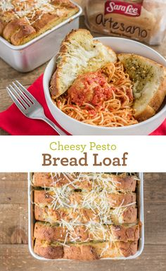 Cheesy Pesto Bread Loaf: You can't go wrong with Sara Lee Artesano Bread, pesto and Asiago and Mozzarella cheeses. Serve as an appetizer, with a meal or as a satisfying midday snack.