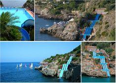 Citta Del Mare Resort waterslide that goes into the Mediterranean Sea! Sicily, Italy