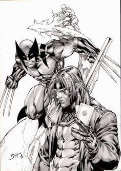 Original Comic Art:Illustration, Ed Benes Wolverine / Gambit / Iceman IllustrationIllustration Original A Image #1