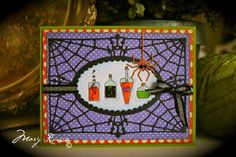 Memory Box products used: Bubbling Potions stamps     C1972 Spooky Frame set               98703 Dangling Spider              ...