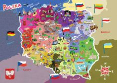 illustrated-map-of-poland. Teo each side hands Lithuania and Poland Poland Map, Poland Food, Poland Travel, Poland Culture, Ukraine, Polish Language, World Thinking Day, Country Maps, Voyage Europe