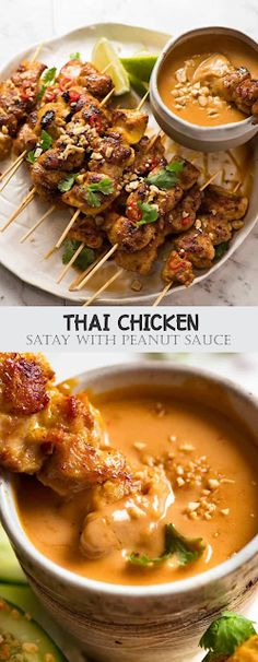 Recipe video above. Thai Chicken Satay Skewers are tasty enough to eat plain but we'd never skip Thai Peanut Sauce for dipping! Asian Recipes, Healthy Recipes, Ethnic Recipes, Healthy Thai Food, Thai Food Recipes, Thai Chicken Recipes, Best Thai Food, Chicken Meals, Meat Recipes