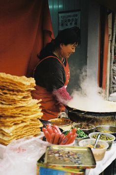 She makes salty egg creps, a popular breakfast in the neighborhood. :)Taken with an Olympus 35 SP.Roll - Photo 18 - Kodak ColorPlus grain here looks really bad, I don't know if it is the film or the process. Discover Hong Kong, Street Food Market, Chinese Market, Dumpling, Foodie Travel, Chinese Food, Shanghai, Asian Recipes, The Neighbourhood