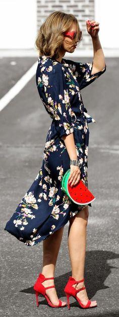Blumenkleider Damen Sommermode Trends Clutch Wassermelone