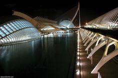 Night view of the City of Arts and Sciences, Valencia, Spain. / Vista nocturna de la Ciudad de las Artes y las Ciencias, Valencia, España.