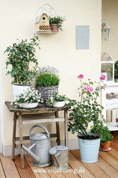 I love this little table to put flowers on ♥ Garden Design Container, Gardening flowers, Container G Container Flowers, Container Plants, Container Gardening, Balcony Garden, Garden Pots, Balcony Ideas, Garden Chairs, Bohemian Style Home, Little Gardens
