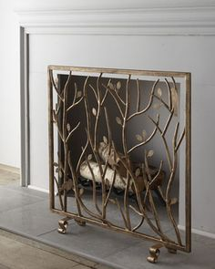 """Bird & Branch"" Fireplace Screen - Horchow, needs mesh"