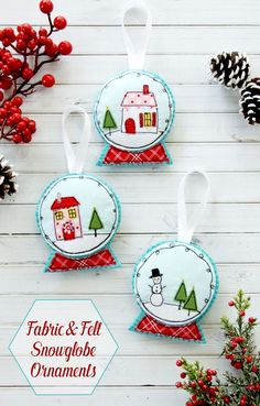 fabric and felt snowglobe ornaments - Merry Christmas Decorations