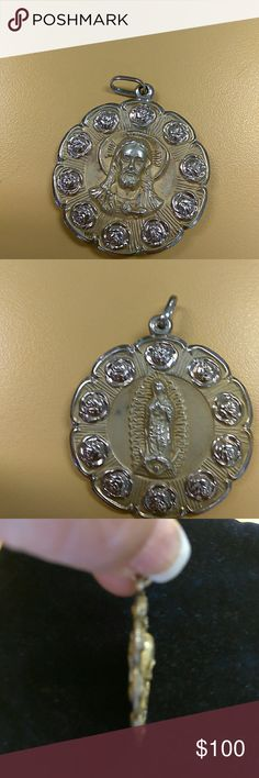 Double sided 14karat gold Medal This medal has Virgin Mary on one side and Christ on the other side Jewelry Necklaces