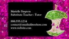 Modern and fresh raw foods for life health and nutrition specialist hot pink glitter apple substitute teacher tutor business cards http zazzle reheart Image collections
