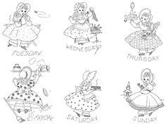 897 Sunbonnet Girls for Days of the Week Towels PDF Instant