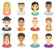 Vector different nations people. Clothes Icons. $5.00