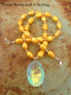 Mustard Pearl and AB Crystal Necklace by threebeadsandastring, $68.00