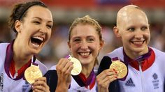 Dani King, Laura Trott and Jo Rowsell celebrate gold in the team pursuit
