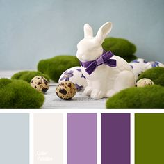 beige, color of violet, color palette to decorate for Easter table decor, colour combination for Easter holiday, cream, gray with a touch of blue, gray-blue, green, green and purple, palette for designer, purple, shades of purple.