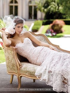 David Tutera for Mon Cheri - 117290 Roxanne - Strapless re-embroidered Alençon lace on tulle over soft satin fit and flare gown with hand-beaded sweetheart neckline and dropped waist bodice, scalloped hemline, chapel length train, detachable spaghetti and halter straps included.Sizes: 0 – 20Colors: Ivory/Sable, Ivory, White