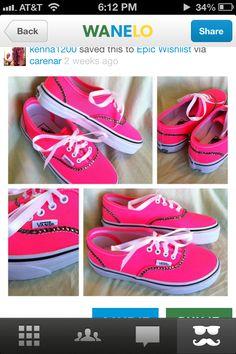 Bright pink bling vans! Cute