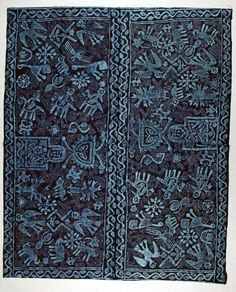 Fantastic:  Africa | Woman's wrapper ~ adire ori kinium ~ from the Yoruba people of Nigeria | ca. 1970 | Cotton; stencil resist indigo dyed