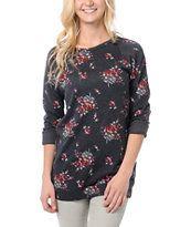 Obey Girls Echo Mountain Navy Floral Print Crew Neck Sweatshirt
