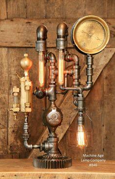 Steampunk Lamp Industrial Machine Age Steam Gauge Light Train Oiler Gear