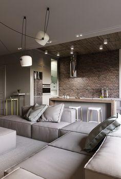 Фотографии Кости Кильдинова Exposed Brick, Modern Interior, Loft Interior Design, Design Industrial, Estilo Industrial, Couch, Sofa Sofa, Loft Interiors, Open Concept Kitchen
