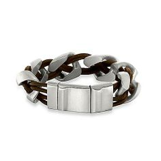 This distinctively different STEL bracelet features a braided design of black leather and satin-finished stainless steel for a striking look on the wrist.