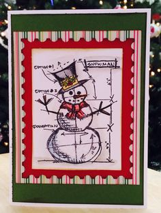 Christmas card using Tim Holtz Christmas Blueprint stamps and Postage Stamp die.