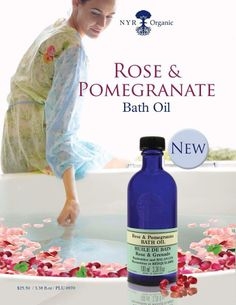 Rose and Pomegranate Bath Oil from NYR Organic.  https://us.nyrorganic.com/shop/Janelle_Bennett/area/shop-online/category/bath/product/0970/rose-and-pomegranate-bath-oil-3-38fl-oz/