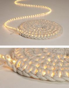 Illuminated rug created by crocheting   around a single strand of rope lighting