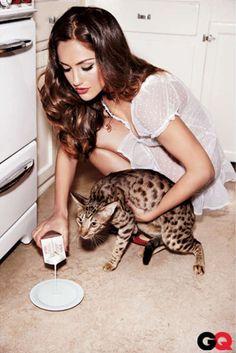 hot girl + beautiful kitty