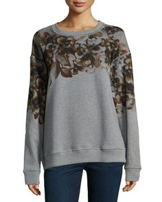 Floral-Print Relaxed-Fit Sweatshirt, Gray by Jason Wu at Neiman Marcus.