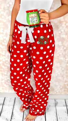 Christmas is just around the corner! Make this year memorable with monogrammed Christmas Pajamas! Our Monogrammed Flannel PJ Pants are perfect! The ultimate winner in year-round style and comfort. Features pocketsCovered elastic waistband tapingLonger length roomy cut Constructed from super-soft 4oz 100% cotton flannelUnisex Fit-**The Adult Red Dot Spot PJ Pants are Women's Cut.**A 3 Initial Monogram will automatically appear with a larger center letter (signifying the last name)...
