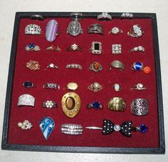 Vintage Rings Lot Cocktail Costume Sterling Silver Taxco Signed 18kHGE CZs