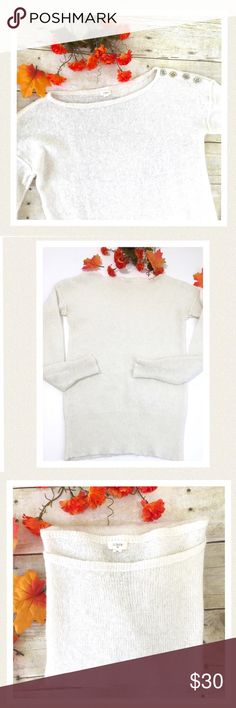 """🆕 J. Crew mohair blend pullover off white sweater Very soft lightweight mohair blend with silver button accents on shoulder. Worn a few times. Excellent condition. 🔹Bust 36"""" 🔹Length 24"""" 🔹Sleeve length 21"""" Color is a creamy off white. J. Crew Sweaters"""