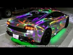 Tokyo Midnight LED Lambo Run Pt.1 -  by Steve's Pov YouTube - Lambo has a HOLOGRAM vinyl wrap that has an awesome effect with the LED lights.