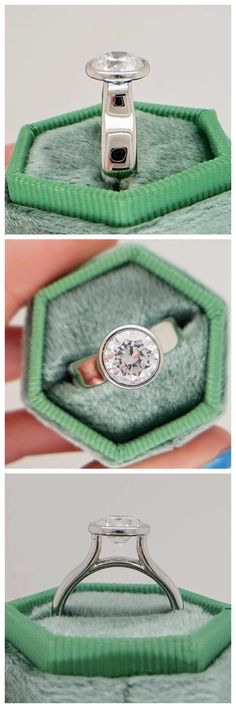 Twilight is a sophisticated engagement ring. The thick contemporary bezel contours the round outline of the 2.0 carat center stone. Set far above the mounting, the heightened cathedral displays the acclaimed profile of a round brilliant. The polished 14k white gold glistens from every angle. This design can be made for any type, shape, or size center stone. Contemporary Engagement Rings, Contours, Unique Rings, Outline, Twilight, Cathedral, White Gold, Profile, Shape