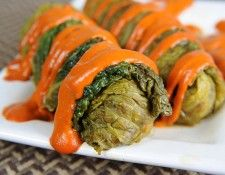 The secret to these cabbage rolls is that they are braised in a flavorful broth enhanced with vinegar and brown sugar, then drizzled with a red pepper garlic sauce. Lentils and rice that have been seasoned with shallots, soy sauce and cumin fill up these tasty treats