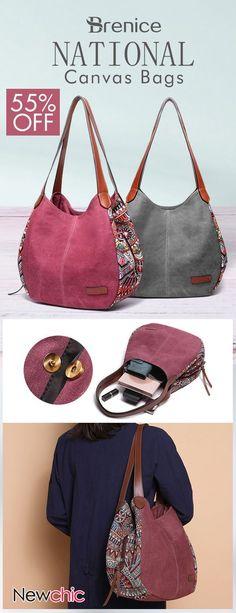 Brenice Bohemia Large Capacity Canvas Floral Handbag Shoulder Bag For Women #CanvasBags #Crossbodybags #ToteBags