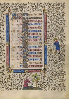 "A Woman Harvesting Grapes; Zodiacal Sign of Libra (Getty Museum) Follower of the Egerton Master  French, Paris, about 1410   7 1/2 x 5 1/2 in.  MS. LUDWIG IX 5, FOL. 9  ""At right the zodiacal sign of Libra...a man dressed in a blue robe and a green hat... Below, a woman cuts grapes from a vine and collects them in a basket... one of the labors of the months used for September, [when] grapes are harvested."" [http://www.getty.edu/art/gettyguide/artObjectDetails?artobj=3738&handle=li]"