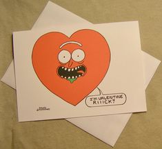 Rick and Morty Valentine Card. Valentine Rick. Regular size card and mini-version, A Lunar Eclipse cartoon Valentine card. by ALunarEclipseCards on Etsy