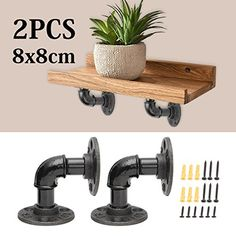 Home Improvement 2pcs Industrial Black Iron Pipe Bracket Wall Mounted Floating Shelf Hanging Wall Hardware Decor For Farmhouse Shelving Hardware Complete In Specifications