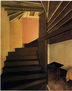 Charles Sheeler - Staircase, Doylestown - Oil on canvas, Charles Demuth, Munier, Documentary Photographers, Stairway To Heaven, Stone Houses, Portraits, Stairways, Architecture Details, Art History