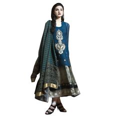 $272 Look absolutely Classic in this double layered Blue number with zari embroidery Sap green printed satin kurta paired with a dark blue chiffon overshirt with zari embroidery and a digital print dupatta.    Color-Dark blue  Material-Satin , georgette  Work-Zari embroidery  Kurta-Color-Dark blue ;Material-Satin , georgette  Dupatta-Color-Blue printed ; Material-Georgette  Churidar-Color-Cream ; Material-Cotton  Slight variation in color is possible