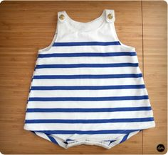 Barboteuse Les Intemporels bébé - Tissu jersey marinière