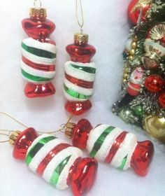 Peppermint Ribbon Candy Christmas Tree Ornaments, Glass Red, White ...