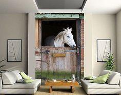 8-986 Komar Fototapete WHITE HORSES Wandtapete 368 x 254 cm Pferde am Meer Wandgestaltung wei/ße Pferde M/ädchenzimmer Sandstrand Tapete