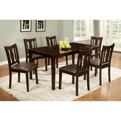 Furniture of America Chargon 7 Piece Dining Set - Espresso - IDF-3402T-7PK